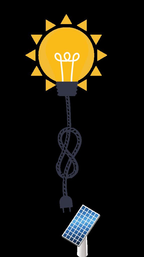 En illustration som visar hur solpaneler omvandlar solenergi till elektricitet.