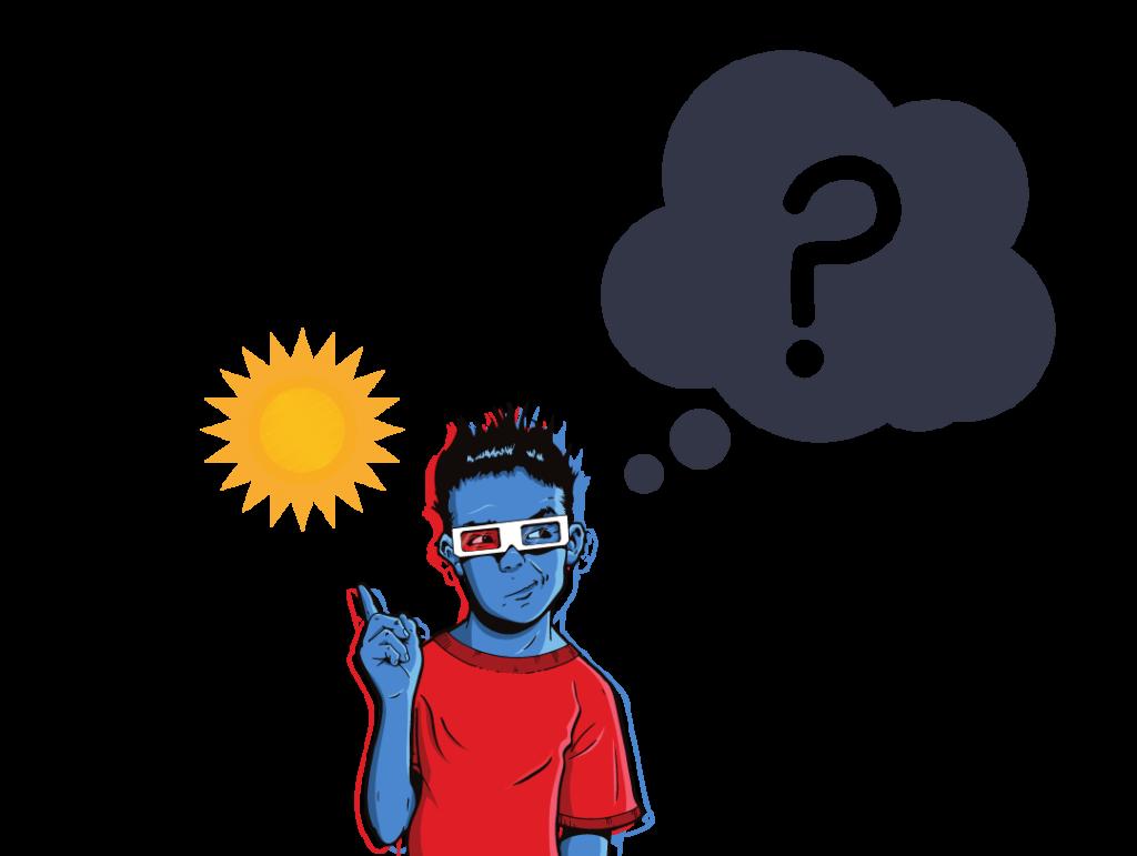 En kille har frågor om solceller