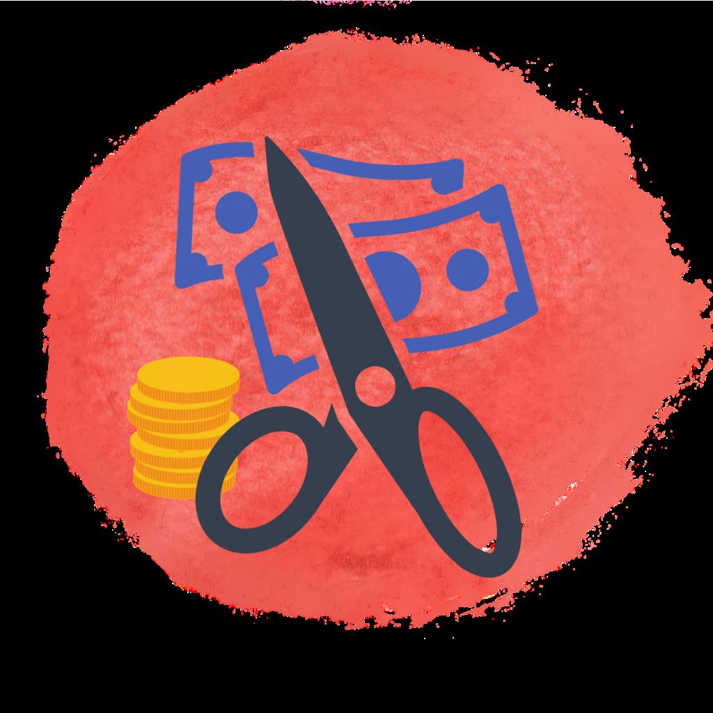 En illustration som visar en sax som klipper sönder sedlar